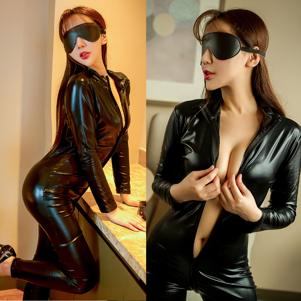 PU Leather Sexy Leotard Romper Women Wet Look Front Zipper Jumpsuit Catsuit Rompers Ladies Club Wear Clothes