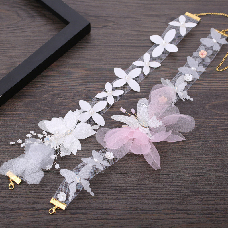 Bride Wedding Choker Necklaces Flower Neck Band Clavicle Necklace Women Short Neck Chain Dance Neckband Jewelry Accessories