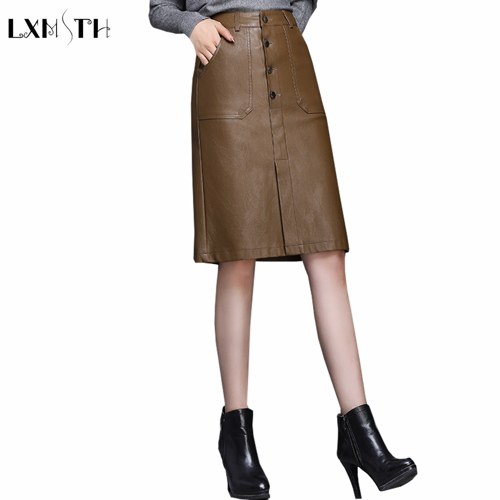 Black Wine Red Khaki Faux Leather Skirt Women Large Size Button Up Slim Ladies Soft Pencil Pu Leather Skirt High Waist 3xl 4xl