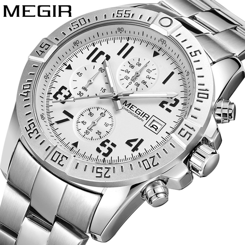 <font><b>MEGIR</b></font> Business Men's Watch Steel Strap Watch Multifunction Arabic Digital Sports Watches Relogio Masculino reloj hombre <font><b>2020</b></font> new image