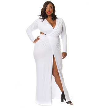 Mirsicas Plus Size L-3XL Black White Women Maxi Party Dress Sexy Deep V Neck Long Sleeve
