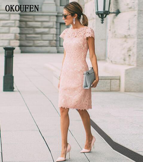 2019 Mother Of The Bride Dresses Knee Length Short Lace Short Sleeves Woman Formal Wedding Party Gowns Madrinha Casual Ladies