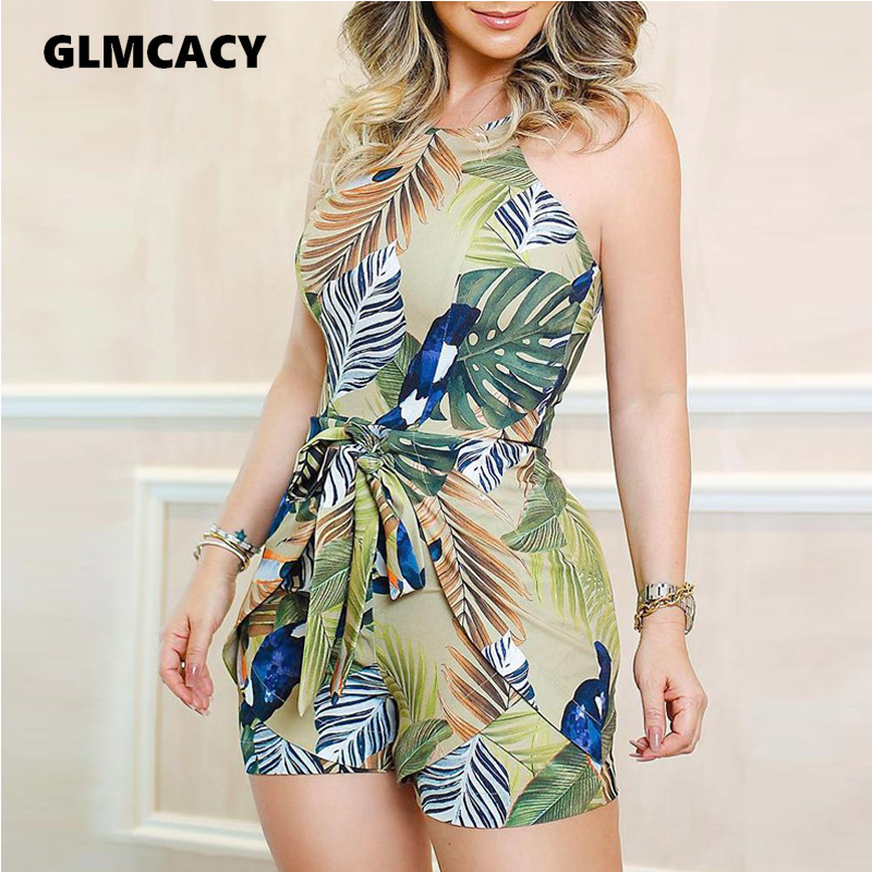 Women Tropical Print Knotted Design Bodycon Romper Skinny Casual Sleeveless Summer Beach Style Holiday Fashion Playsuits