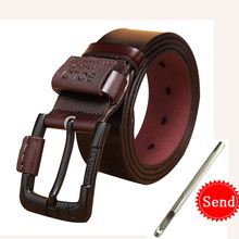 New Cow Genuine Leather Luxury Strap Male Belts For Men Fashion Classice Vintage Pin Buckle Belt High Quality