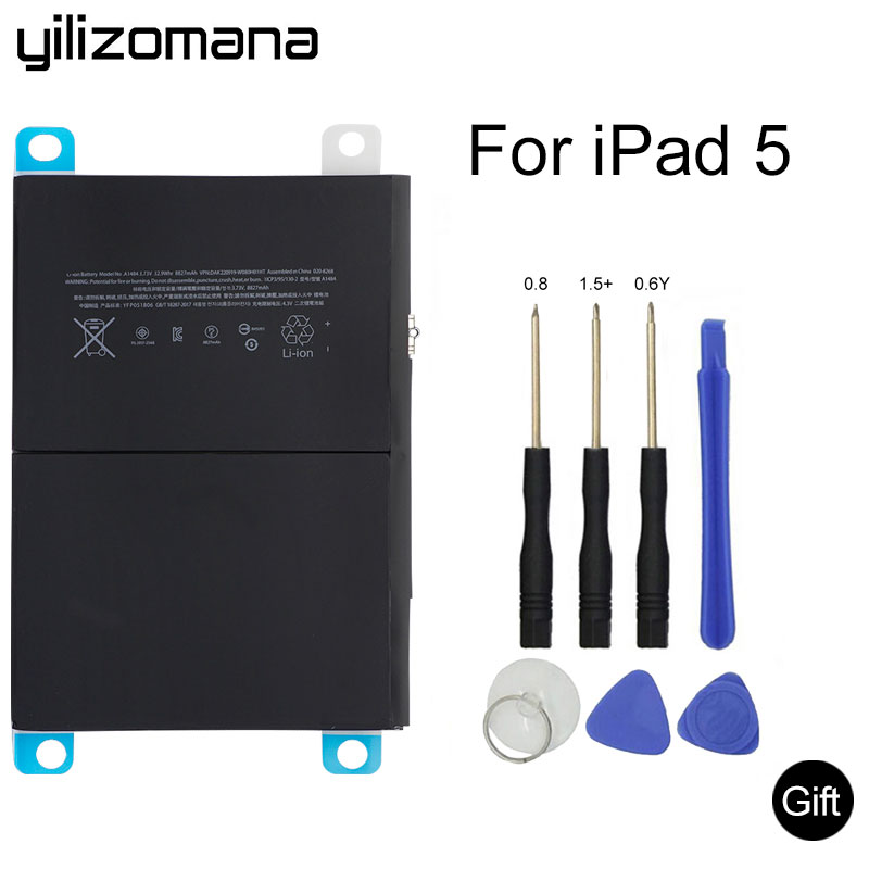 YILIZOMANA Original Tablet Battery For IPad 5 IPad Air 8827mAh Original Replacement Battery For IPad5 A1484 A1474 A1475 + Tools