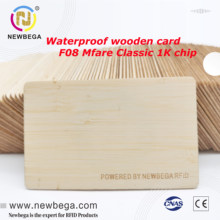 Wooden RFID Proximity Card, Waterproof Bamboo Material, F08 Chip Clone S50 13.56MHZ, Premium Quality IC Smart Card(5pcs)