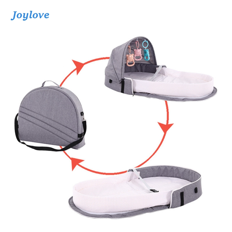 JOYLOVE Baby Travel Portable Mobile Crib Baby Nest Cot Newborn Multi-function Folding Bed Child Foldable Chair With Toys