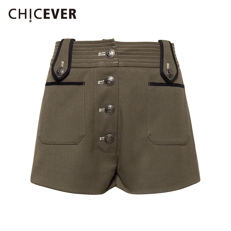 CHICEVER Casual Tweed Shorts For Female High Waist Loose Hit Color Safari Style Women Short Pants Fashion Clothes 2020 New Tide