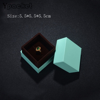 Box For Jewelry Free Shipping 40pcs/lot 5.5*5.5*5.5cm Green Ring Earring Packaging Boxes High Quality Jewellery Organizer