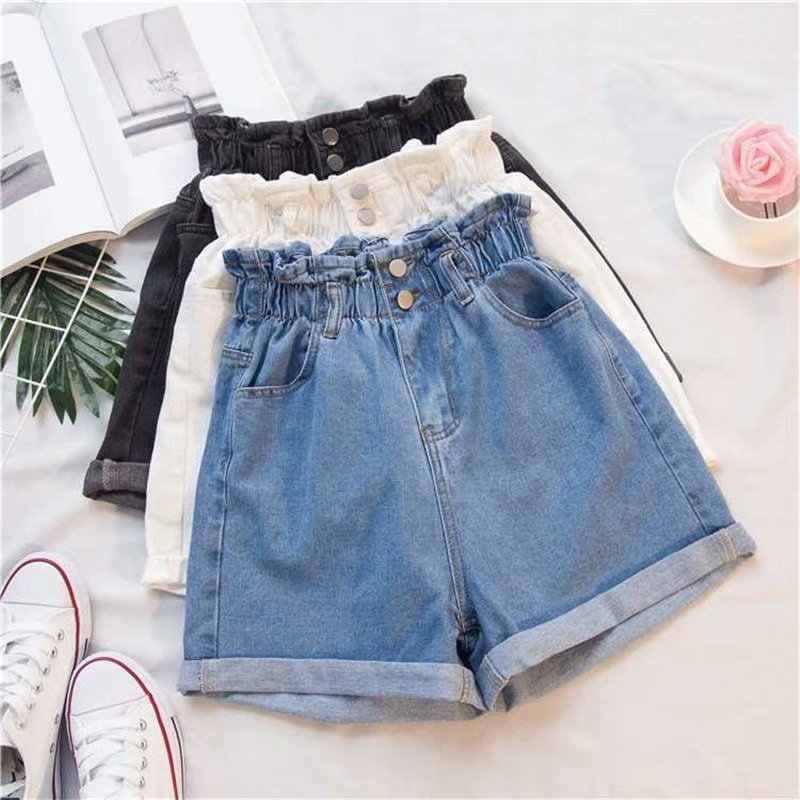 Women's Ripped Denim Jean Shorts High Rise Stretchy Folded Hem Short Jeans Loose Elasitc Wasit Wide Leg Short Pants