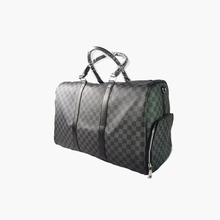 HORIZONPLUS Classic Plaid Design Mens Leather Travel Bag Brand Business Man Overnight Tote Bags Carry On Luggage