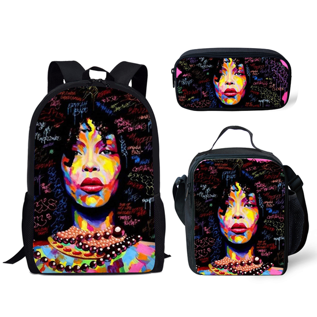 3pcs/set  African American Girl School Bags Set for Teenage Girls  2