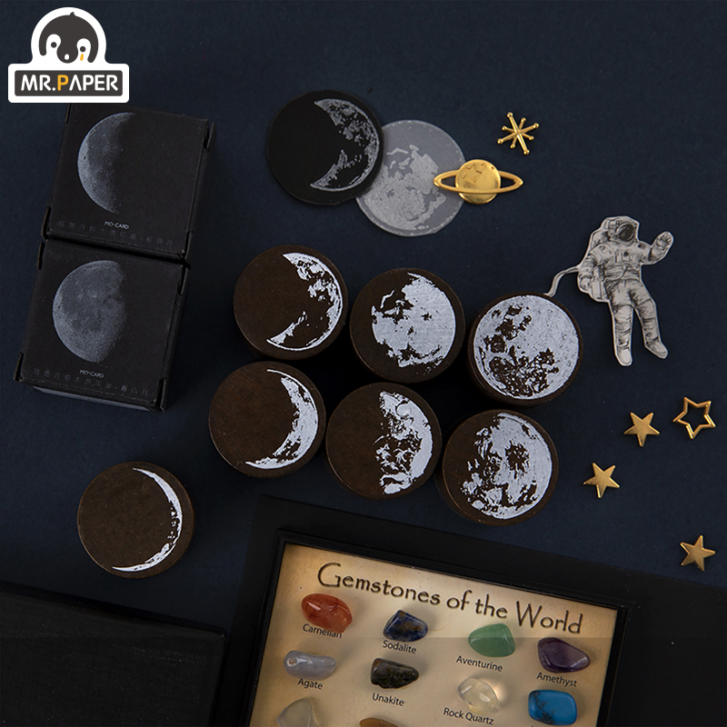 Mr.Paper 7 Designs Moon Phase Series Gold Space Hop-pocket List Log-Rubber Stamps for Scrapbooking Deco DIY Craft Wooden Stamps 2