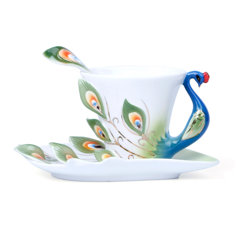 2 Color Lifelike Peacock Shape Porcelain Cup Ceramic Coffee Tea Set Cup/Saucer/Spoon