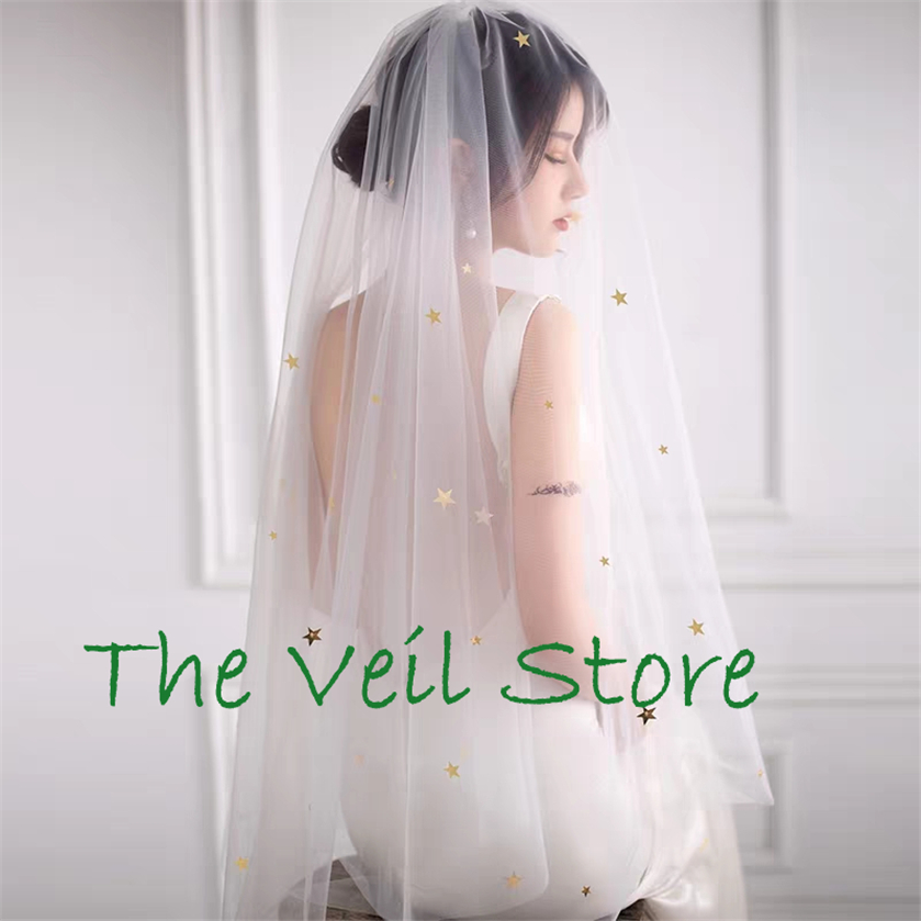 Bridal Wedding Veils With Comb Gold Silver Stars Starry Sequins White Ivory Tulle Veil For Brides Velo De Negra Voile De Mariage