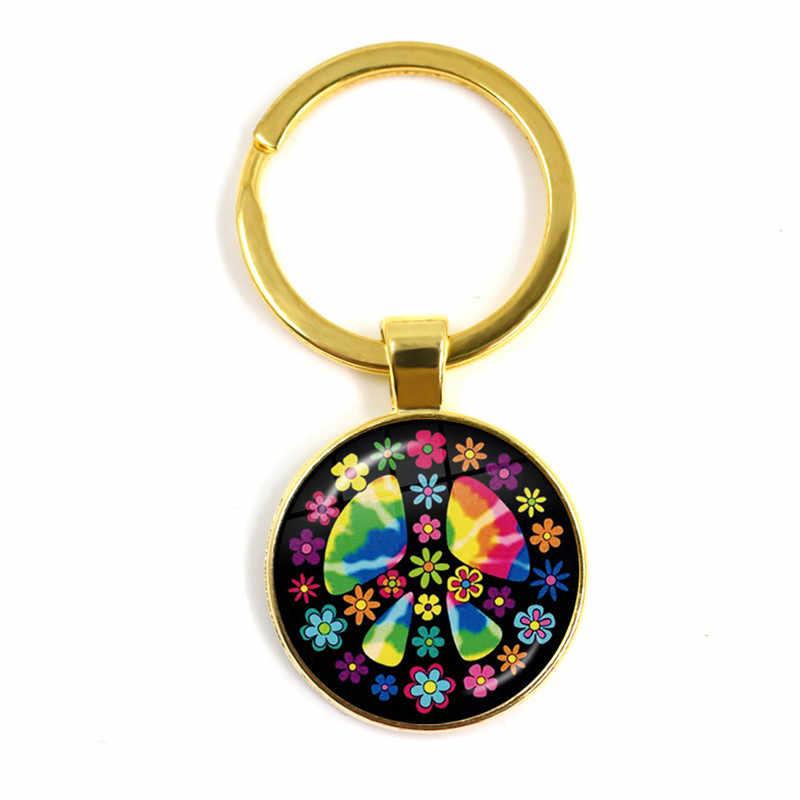 Новое поступление символ мира 25 мм стеклянный выпуклый брелок круглый Hippie Peace ЗНАК автобус стеклянный купол для ключа кольца держатель для мужчин и женщин подарок
