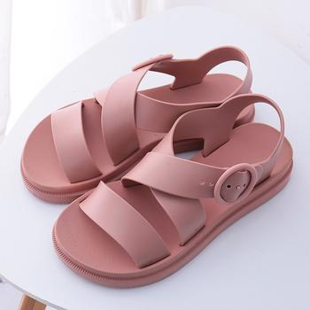 Buty damskie sandały na płaskim obcasie Gladiator klamra miękkie żelowe sandały damskie Casual damski płaski obcas kobieta buty na plażę lato 2020 tanie i dobre opinie KHTAA Mieszkanie z Otwarta RUBBER Mieszkanie (≤1cm) Na co dzień Slip-on Pasuje prawda na wymiar weź swój normalny rozmiar