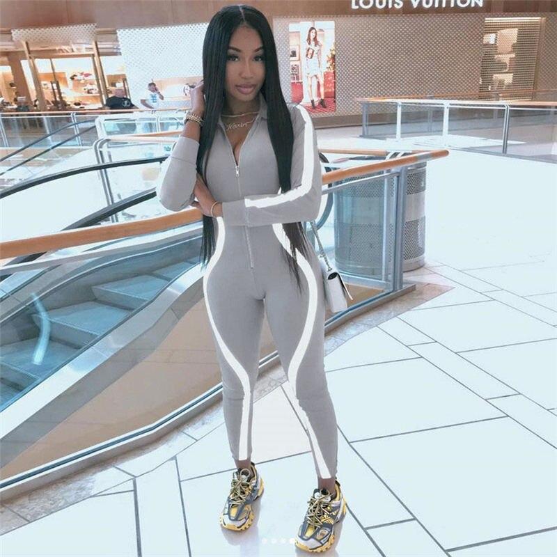 Women Reflective Playsuit Long Sleeve Club Jumpsuit Romper Trousers Tracksuit