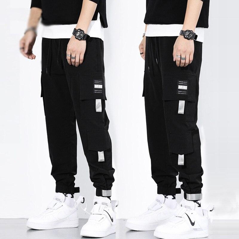 Ribbons Harem Joggers Men Cargo Pants Streetwear 2020 Hip Hop Casual Pockets Track Pants Male Harajuku Fashion Trousers 4