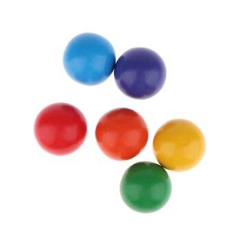 6 sztuk Rainbow Balls Set Woden klocki, rozpoznawanie kolorów, liczenie liczb, rozwój umiejętności motorycznych