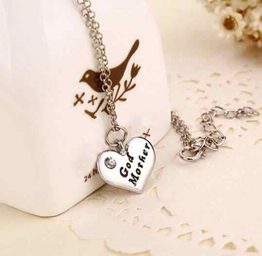 New Stlye Silver Love Heart Pendant Rhinestone Godmother Necklace Jewelry Mothers Day Mom Gift chain trinket gothic Dropship