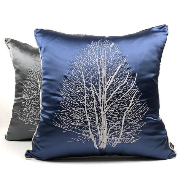 Light Luxury <font><b>Pillow</b></font> <font><b>Case</b></font> <font><b>50*50cm</b></font> Body <font><b>Pillow</b></font> Cover Oriental Tree Embroidered <font><b>Pillow</b></font> Pillowcase for Home Office Hotel image