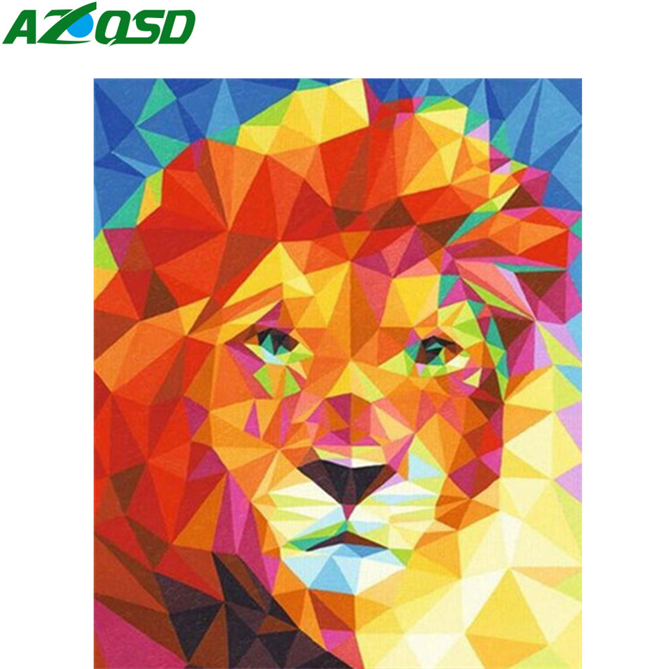 AZQSD DIY Oil Painting By Numbers Animal Acrylic Paint Decoration Wall Art Pictures By Numbers Lion Handmade Gift Kit