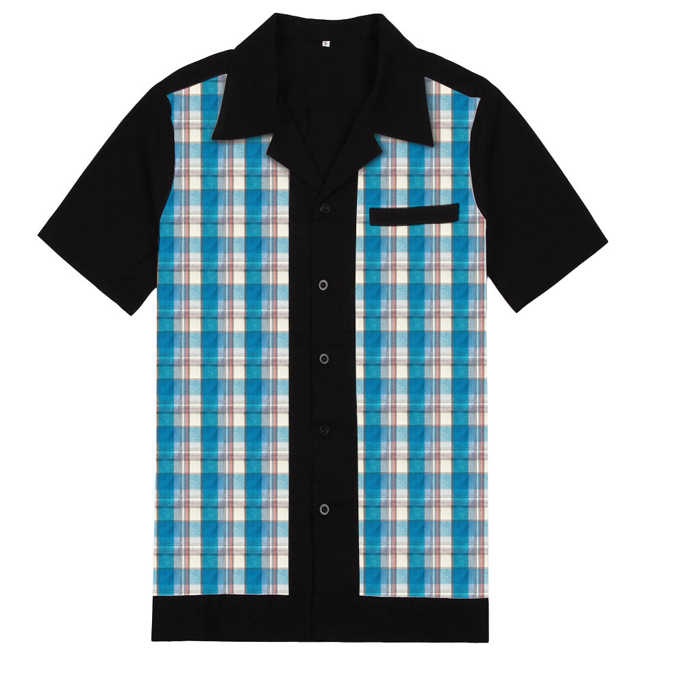 50s Inspired Vintage Men Shirt ST111 Blue Plaid Black Chemise Homme Bowling Casual Shirt Cotton Men Clothing
