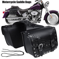 Pair Motorcycle Saddlebag Rivet Stitched Saddle Bags Tool Luggage Bags Side Pouch Pannier Waterproof For Suzuki/Yamaha/Honda