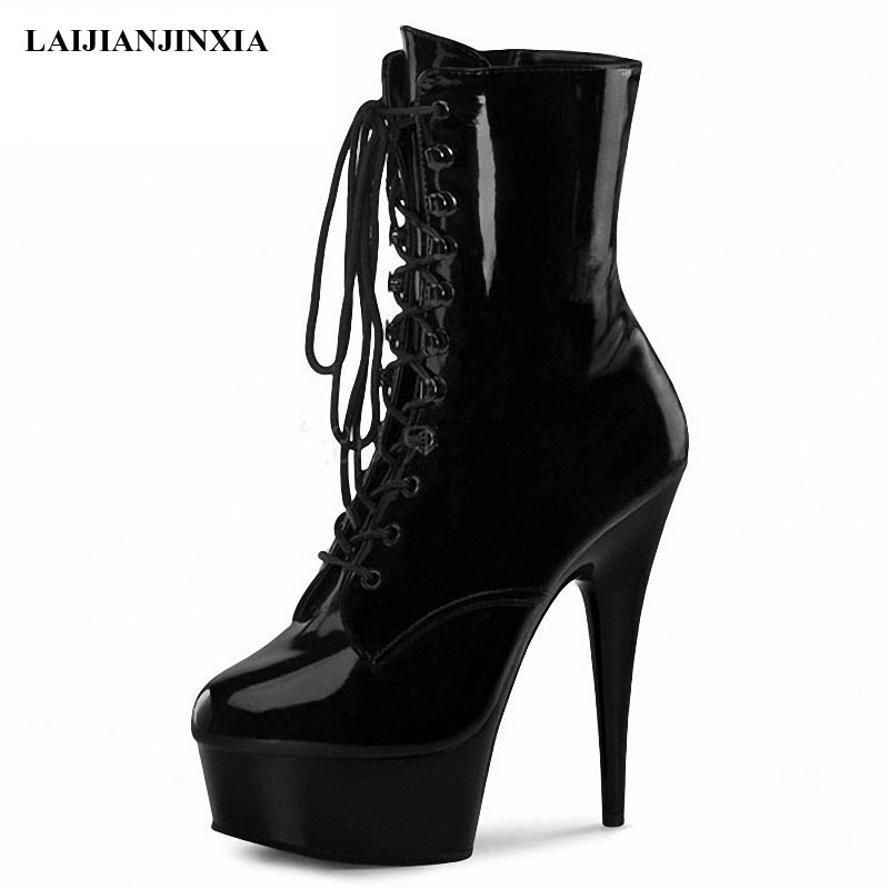 LAIJIANJINXIA New style 15CM Extreme High Heels Platform Boots Lace Up sexy Pole Dancing Ankle Boots Side Zip custom 20cm heel image
