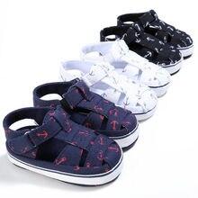 Baby Kids Boy Shoes Soft Sole Sandals Toddler Newborn Hollow ship anchor Rome Cozy Fashion White Black Blue 11-13