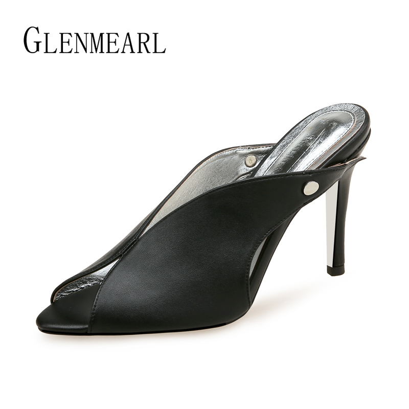 Women Heels Brand Female Slippers Comfortable Black Peep Toe Slippers Women Shoes Thin Heel Casual Shoes New Arrival Spring DE