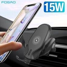 Bezprzewodowa ładowarka samochodowa FDGAO 15W do telefonu iPhone XS XR X 8 11 Pro Max Samsung S10 S20 szybkie ładowanie uchwyt do telefonu grawitacyjnego