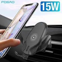 FDGAO 15W 무선 자동차 충전기 마운트 아이폰 XS XR X 8 11 프로 최대 삼성 S10 S20 빠른 충전 중력 클램핑 전화 홀더