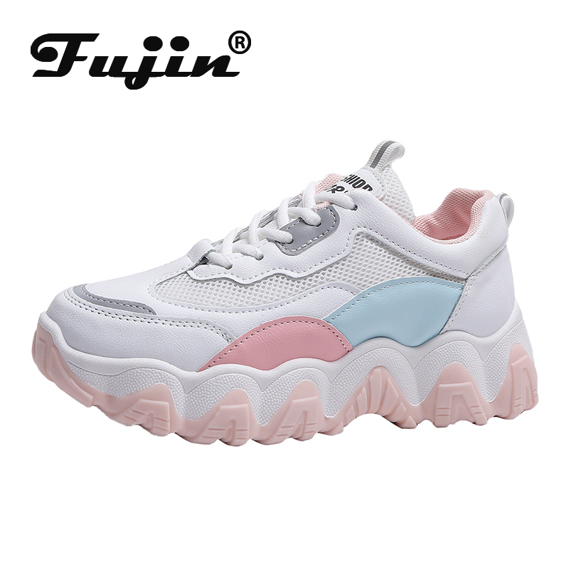 Fujin Spring 2020 Women Sneakers Mesh Lace Up Dropshipping Female Ins Round Headed Student Street Patting Fashion Causal Sneaker