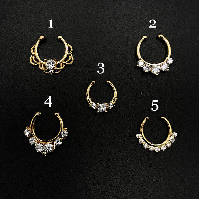 Online Shop Traditional Indian Zircon Women Man Gold Nose Ring