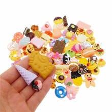 20pcs Resin Flatback Cabochon Slime Charm Cake Bread Candy Icecream Lollipops Food Random Phone Decor Scrapbookin Jewelry Making