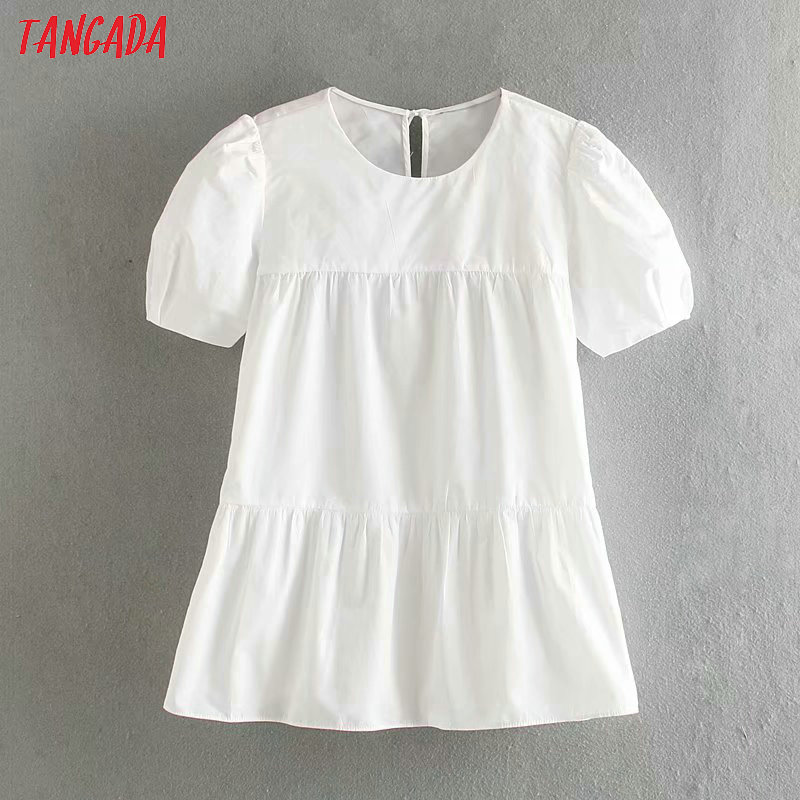 Tangada Women Sweet Pleated White Shirts O Neck Short Sleeve Back Bow Tie Elegant Ladies Casual Blouses 5Z106