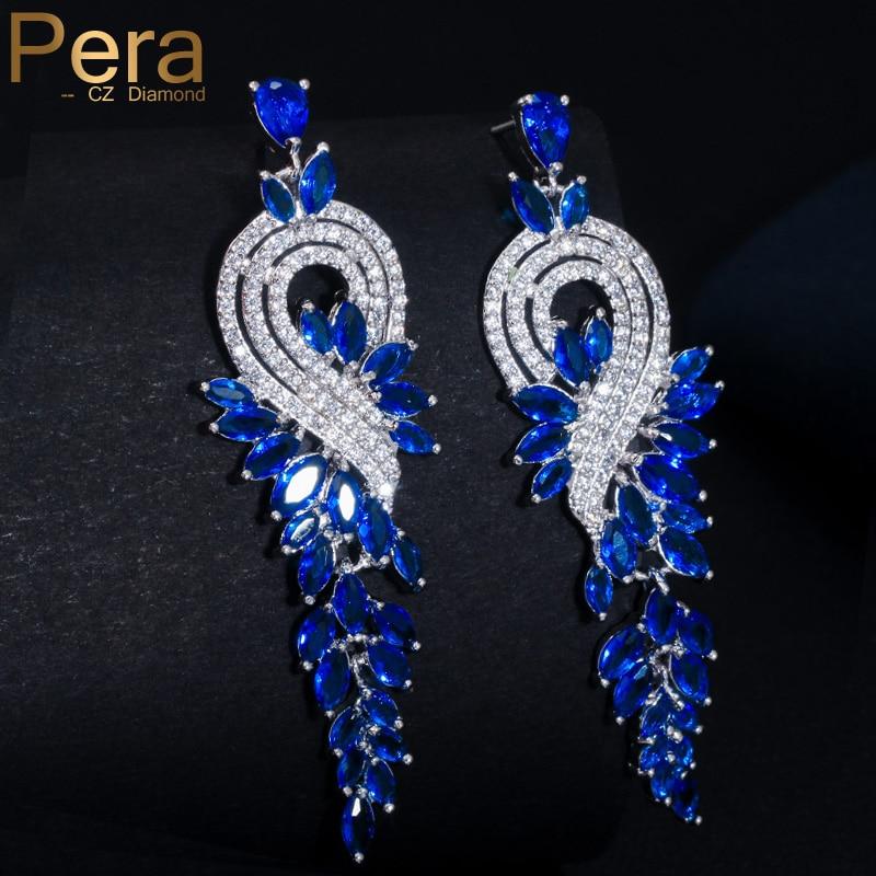 Pera luxusní královská pravá a levá asymetrický design dámské párty šperky velké marquise dlouhé kapky krychlový zirkony modré náušnice E226