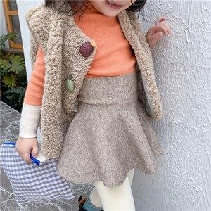 Image 2 - Baby Girl High Waist Wool Skirt Children Umbrella Skirt Pure Color Kids All Match Skirt KidsGirls Clothing