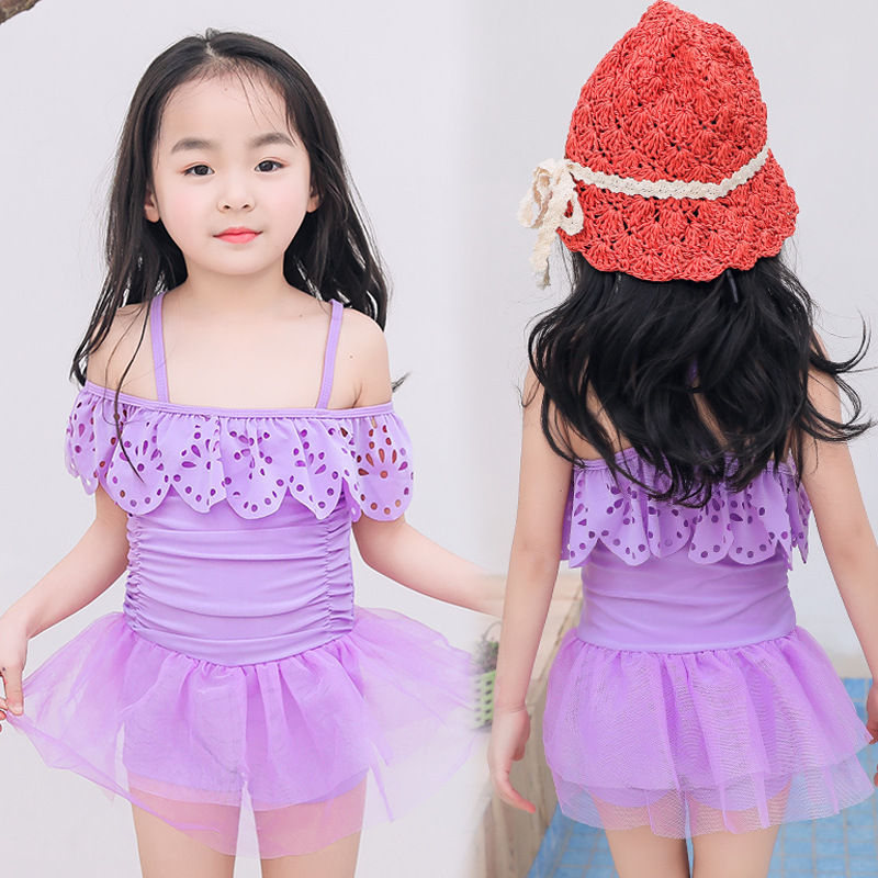 2019 New Style Korean-style Hot Springs Season Children Small CHILDREN'S Flounced One-piece Bathing Suit Skirt Boxer Conservativ
