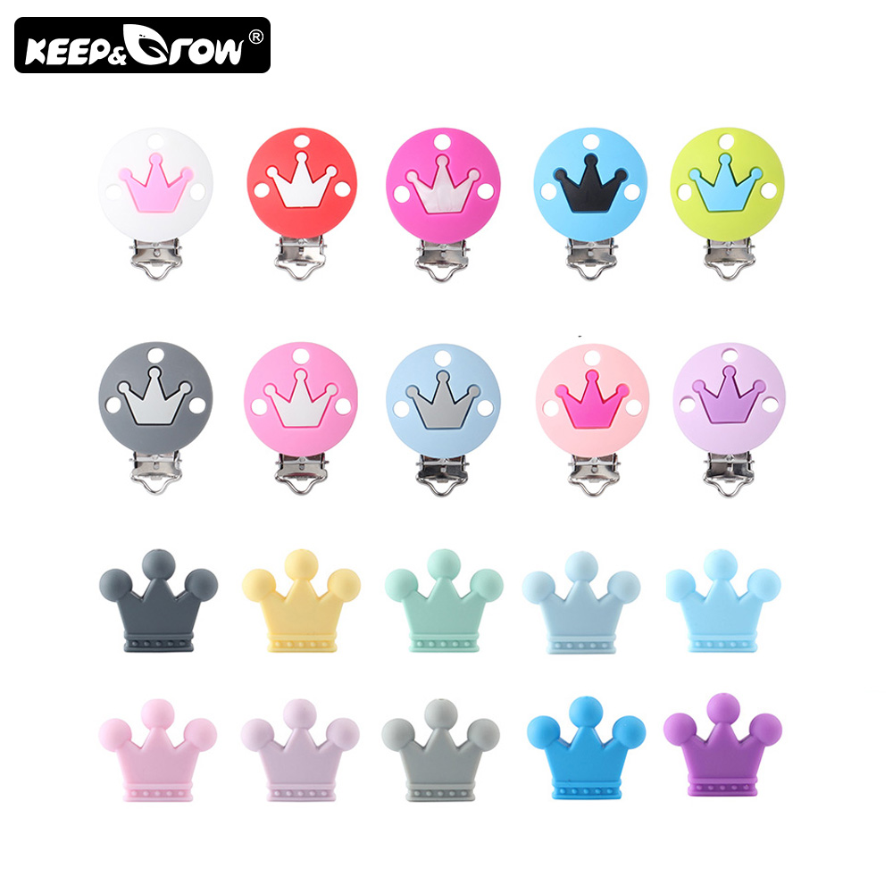 2Pcs Crown Silicone Beads Baby Pacifier Clips DIY Teething Necklace Toys Baby Silicone Teethers Accessories Clip Nipple Clasps
