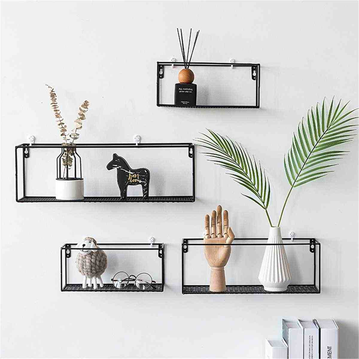 Black Iron Wall Shelf Wall Mounted Storage Rack Organization For Kitchen Bedroom Home Decor Kid Room Diy Wall Decoration Holder