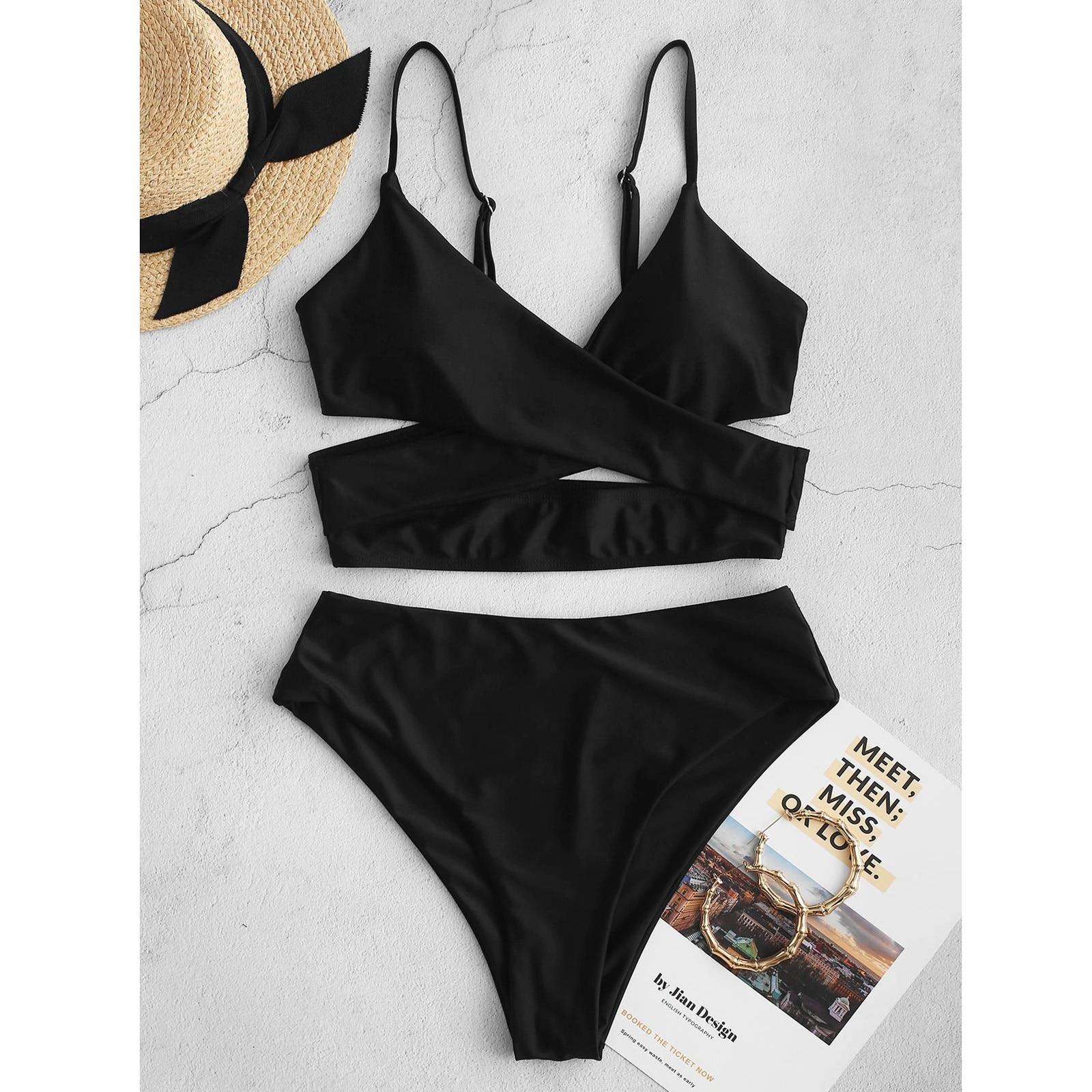 4 # das mulheres Bikini Alta Waisted Tummy Controle Купальники Cor Sólida Swimsuit Swimwear Tankini Maiô Trajes de Banho Do Vintage