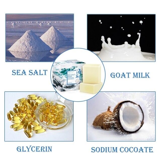 LAIKOU Sea Salt Soap Cleaner Oil Control  Removal Pimple Pore Acne Treatment Blackhead Remover Goat Milk Moisturizing Soap 4