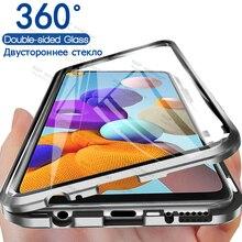 360 삼성 Galaxy a21s a21 s 용 양면 금속 마그네틱 케이스 Sansung Samsumg Sumsung SM A217F/DSN 용 강화 유리 케이스