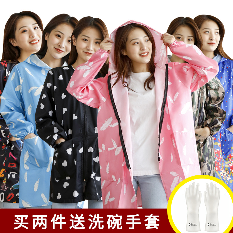 Zipper Waterproof Long Sleeve Women's Adult Apron Kitchen Protective Clothing Overclothes Oil Resistant Winter Work Clothes Work