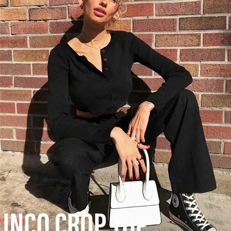 가을 2019 카와이 자른 카디건 여성 니트 작물 스웨터 탑 핑크 블랙 섹시한 스웨터 귀여운 니트 스웨터 빈티지 한국어