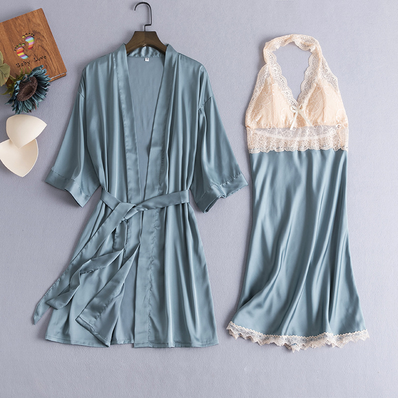 2PCS Robe Suit Sexy Satin Women Lace Trim Kimono Gown Bride Bridesmaid Wedding Bathrobe Loose Casual Summer Home Dressing Gown