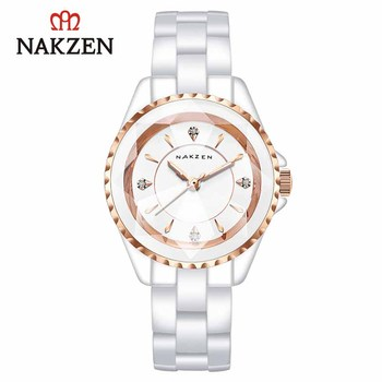 NAKZEN Business Ladies Watch Luxruy Wristwatch Life Waterproof Montre Femme Quartz Clock White Watch for Women Relojes De Mujer new longbo luxury brand women watch gold ceramic bracelet lady quartz watch waterproof ladies clock relojes mujer montre femme